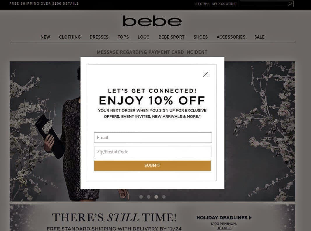 eCommerce Email Marketing - Image Curtsy of bebe.com
